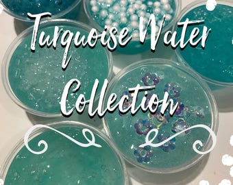 Turquoise Waters Collection | Ocean Breeze Scented Clear Slime | Fish Bowl Beads, Glass Beads, Specialty Sparkles, Foam Beads, Flower Sequin