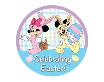 Celebrating Easter Disney Park Button - Easter Badge - Mickey and Minnie Holiday Button - Theme Park Pin - Disney Park Badge - Easter Pin