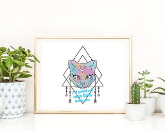 Instant Download | Boho Tribal Cat | Art Print | Printable | Digital Art | Illustration | Wall Art