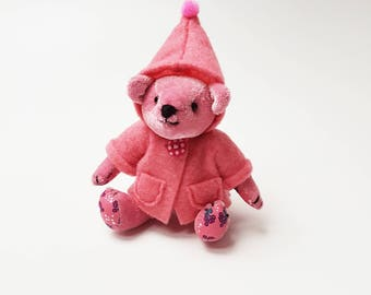 Mini Pink Teddy Bear / Baby Girl Bear with Pink Jacket / Articulated Doll / Handmade Plushie / Stuffed Animal