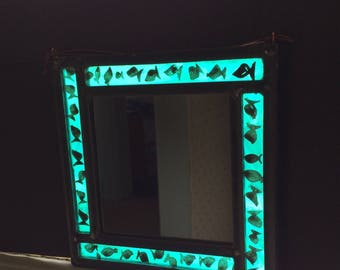 Stained glass leaded fish mirror