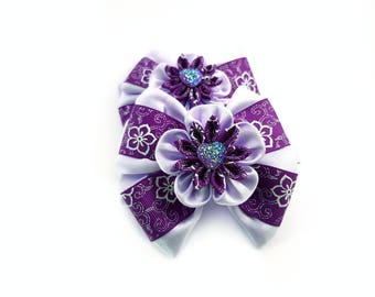 Ponytail holder Big hair bow set Purple bow for infant girl Boutique pastel bow lot Large flower hairbow Ponytail holder Holiday hair bow