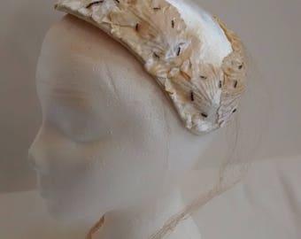 Vintage Beaded Velvety Flower Petal Fascinator Caplet Hat , c.1950s 1960s