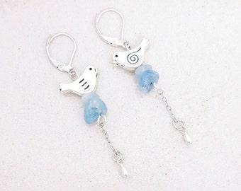 Bird - aquamarine - Silver earrings