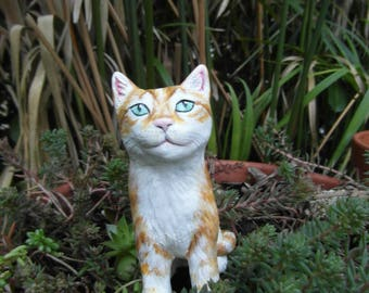 Ginger kitten made of self-hardening clay
