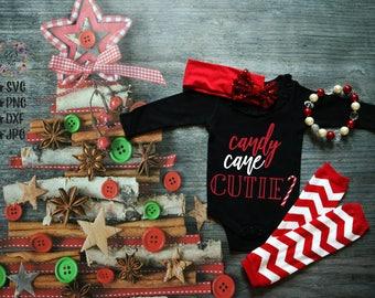 Candy Cane Cutie Svg, Candy Cane Svg, Cutie Onesie Svg, Christmas Svg, Onesie SVG, Baby Svg, Cut Files, Svg Files, Svg, Silhouette, Cricut