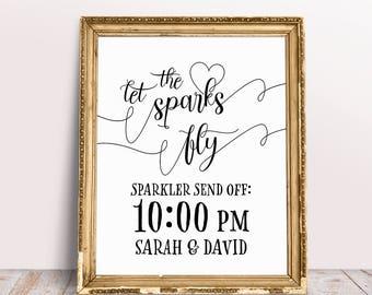 Let The Sparks Fly, Sparkler Send Off Sign, Sparkler Sign, Wedding Sparklers Sign, Reception Signs, Wedding Printables, Personalized Sign