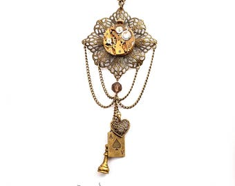 Filigree Steampunk Necklace - with Charms and Vintage Watch Movement