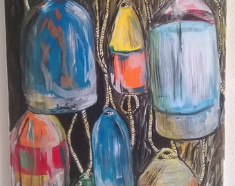 Signed original painting of lobster or crab pot bouys by Portland, Oregon artist Joseph Cardinal
