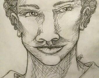 Custom Crosshatch Pen and Ink Portrait