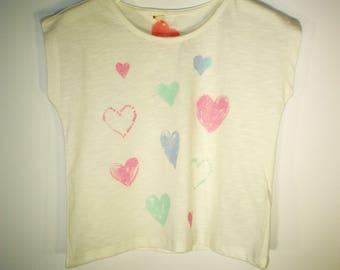 T-shirt for girls, Cotton white girls t-shirt