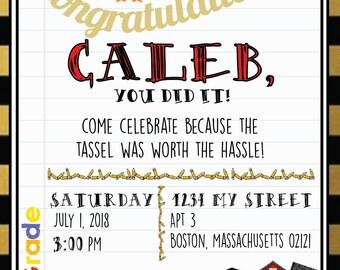 "First Grade Owl ""Tassel Worth the Hassle"" Graduation Digital Invitation"