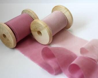 Hand dyed Ribbon Set / BLUSH PINK Silk ribbon/ Cotton ribbon/ Invitation Ribbon /Bouquet Ribbon/ Bridal Supplies /Pink Blush Wedding Ribbons