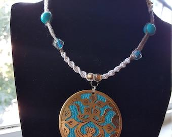 Tribal Flower Pendant Hemp Necklace