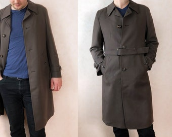 Men Coat Vintage Maxi, Long Coat Men Vintage Overcoat, Men Wool Coat Brown, Wool Coat Men Vintage Coat, Wool Overcoat Men Long Coat, XL 52