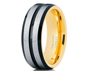 Men's Tungsten Wedding Band Yellow Gold Tungsten  Ring Tungsten Carbide Ring Men & Women Black Tungsten Ring Brush