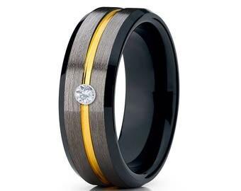 Gunmetal Tungsten Wedding Band White Diamond Tungsten Ring Men & Women Tungsten Carbide Ring Anniversary Ring Yellow Gold