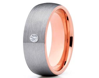 White Diamond Tungsten Wedding Band Tungsten Carbide Ring Anniversary  Ring Men & Women Gray Tungsten Ring Comfort Fit Brush