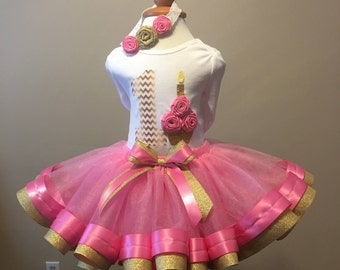 1st Birthday Pink & Gold Rose Tutu Set