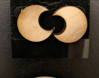 Natural Wood Earrings - Crescent Moon