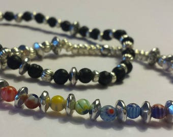 Chakra/Rainbow lava stone bracelet SET