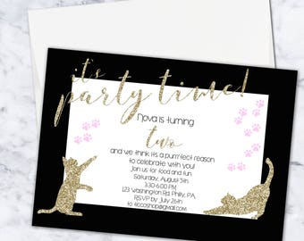 Glitter Kitty Cat Birthday Invitation, 5x7, Digital Download, Girl, Gold, Black, White, Pink