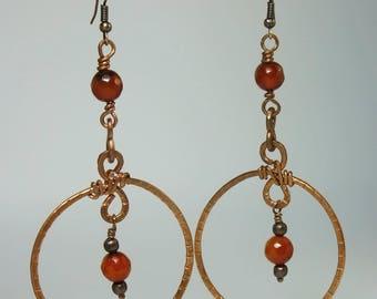 Large Copper Wire Hoop-Dangle Earrings, handmade and unique, hammered copper earrings, copper jewellery, teenage girls & women jewelery