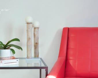 Bougeoir bois flotté sur socle peint