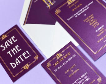 Palace Art Deco Purple & Gold Save the Date