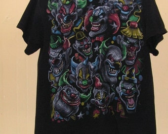 90s Scary Clowns icp circus  T-Shirt size adult Medium 100% pre shrunk Cotton  piercing tattoo old school party Vintage tee