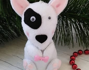 Dog Ornaments, Felt Animals, Felt Bull Terrier, Puppy, Christmas Decorations, New Year Symbols, Housewarming Decorations, Dog Lover