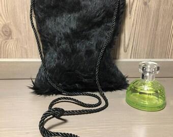 Little black bag, Black faux fur bag, Faux fur cross body bag, Faux fur purse, Black faux fur handbag, Mini bag, Fake fur bag, Fluffy bag