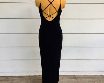 Vintage 90s Black Velvety Maxi Dress with Lace-up Back and Rhinestone Detail by Maurices