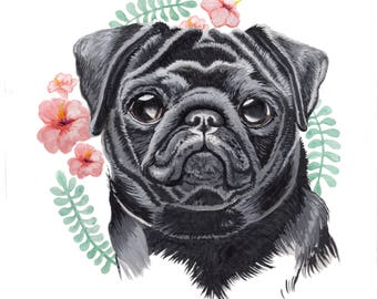 Pug Gift Art Pet Painting - Custom Made to Order - Handmade Watercolour Gift Couple Personalised Wall Art