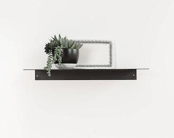 Metal Floating Kitchen Shelf 5'' Deep Picture Industrial Modern Steel Wall Shelves White Sheet Metal Raw Black Handmade Handcrafted