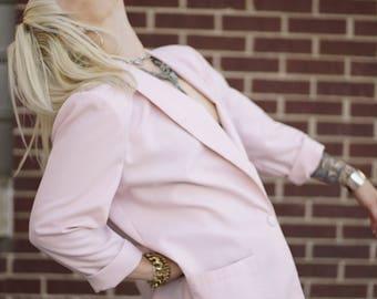 Vintage Oversized Pink Poly Blazer | Casual Blazer | M | L