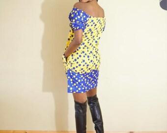 FOLKSHELF African Print Offshoulder Polka Dress