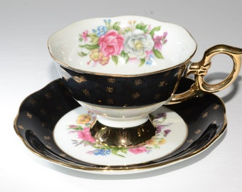 SHAFFORD, Hand Painted, Shafford, Black and White, Teacup and saucer, Flowers, Footed, Gold Rimmed, Japan, Vintage,Widemouth,Gold Stars,Mint
