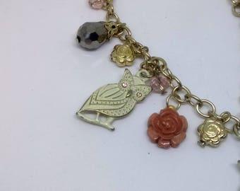 Vintage charm bracelet and OWL