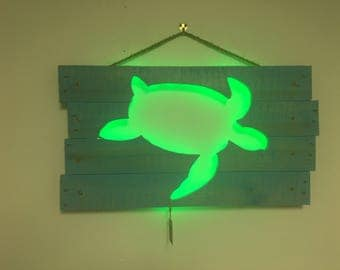 Sea Turtle Cutout Wall Art - Repurposed Pallets & LED Lights
