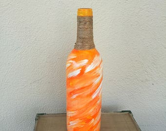 Painted wine bottle // Home decorations // centerpiece // Rustic Home Decor // twine wrapped bottle  // tiki bar decor
