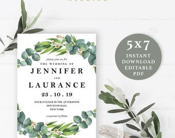 Green Leaves Wedding Invitation Template, 5x7, Instant Download Printable, Editable PDF, EWIN002