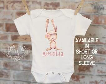 Baby Name Boho Rabbit Onesie®, Personalized Onesie, Customized Onesie, Cute Onesie, Funny Onesie, Girl Name Onesie - 314A