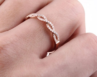 10k rose gold Diamond Eternity Ring Wedding Band delicate Diamond Ring Stacking ring twist engagement ring 0.24ctwct