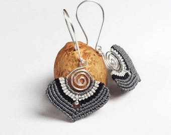 macrame spiral earrings, 925 sterling silver beads, silver plated wire, handcrafted earrings