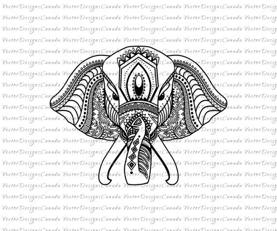 Beautiful and intricate indian elephant from