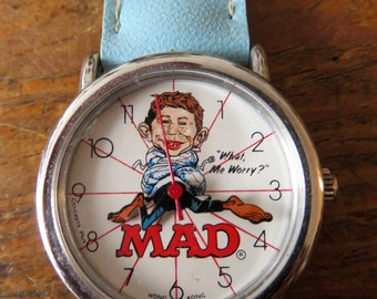 Vintage Working 1987 MAD Magazine Character Watch 35th Anniversary Edition with Blue Leather Wrist Band, in Great Condition!