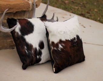 Tri-Color Cowhide 18x18 Pillow WITHOUT INSERT