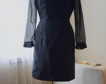 Vintage 90s black Sheer long sleeved fitted mini dress