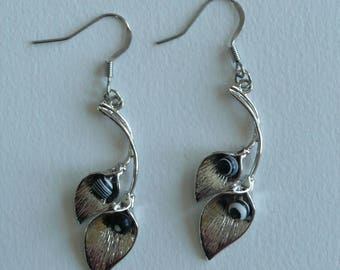Leaf earrings silver black beads and white-stainless steel